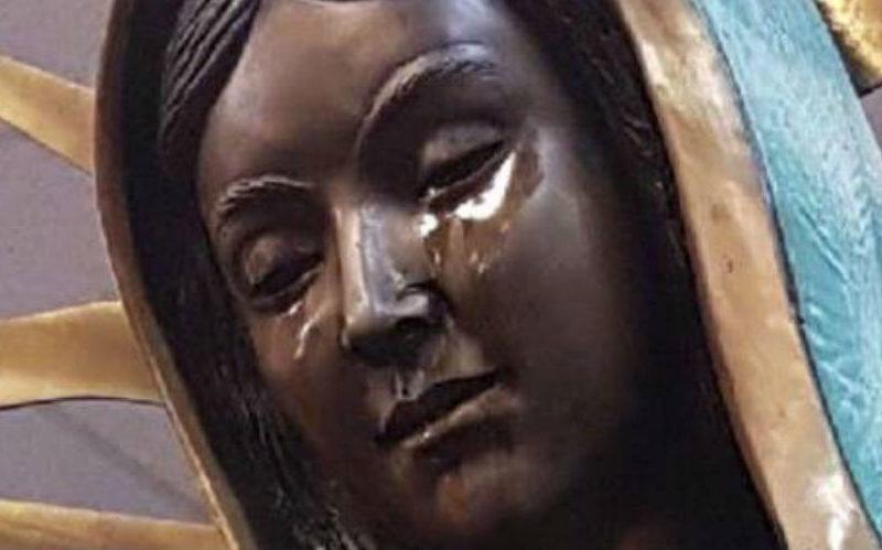 """Tượng Đức Mẹ Maria """"đang khóc nước mắt dầu ô liu"""""""