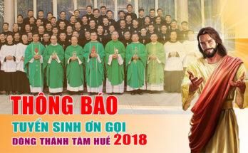 Tuyển sinh Ơn Gọi Dòng Thánh Tâm Huế - Năm 2018